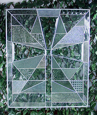 The Beveled Cross -Tiffany Style Abstract Stained Glass Window Panel Handcrafted