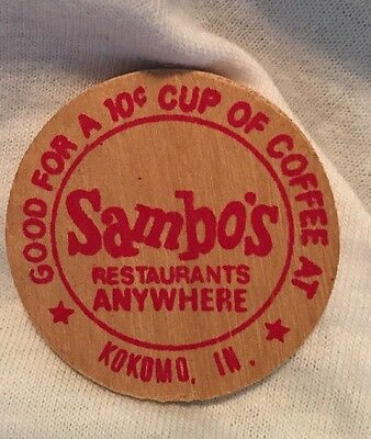 Wooden Nickel token - Sambo's 10 Cent Coffee Kokomo IN. Wooden Coin