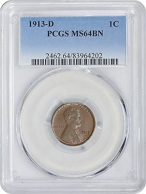 1913-D Lincoln Cent MS64BN PCGS Mint State 64 Brown