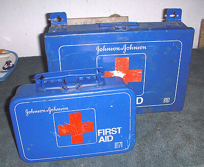 Vintage Johnson and Johnson First Aid Kits *LOT OF 2* Blue Metal Box #8161 #8171