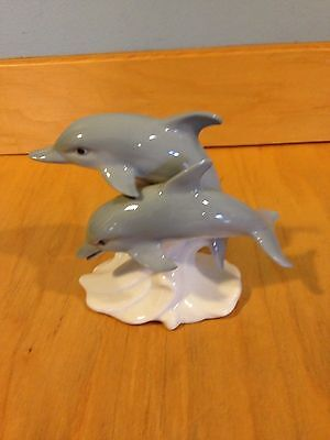 "Brookfield Zoo Otagiri Pair of ""Dolphins on Wave"" Figurine *"