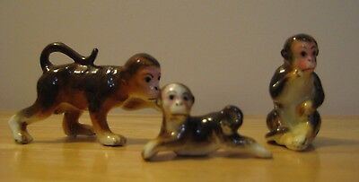 Vintage Bone China Miniature Monkey Figurines