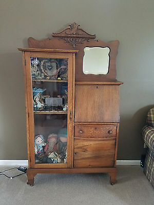 Antique Tiger Oak Side by Side Secretary Desk Bookcase Curio Cabinet