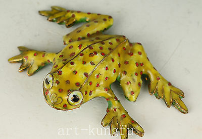 Chinese Old Cloisonne Collection Handmade Carved Frog Statue Figure Decoration