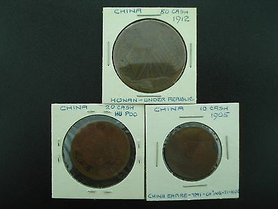Lot of (3) Old China Cash Coins 10, 20, 50 Cash  **NO RESERVE**