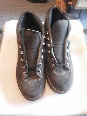 HENKE Vintage Dark Gray Suede Leather Cross Country Hiking Boots Men  9 US RARE