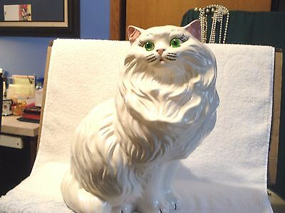 "Vintage 14"" Tall Large Ceramic White Persian Cat With Green Eyes & Pink Ears"