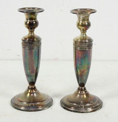 2 Vintage Sterling Silver Reinforced With Cement Candlesticks Lot
