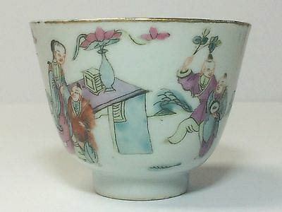 Antique Chinese Porcelain Cup With Figures Marked