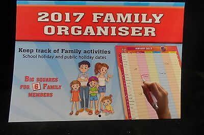 2017 Family Organiser Calender - Free Shipping - Fast Postage - BIG PRINT