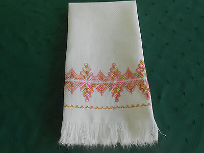 White Huck Linen Towel With Pink Huck Hand Embroidery And Fringe, Circa 1920