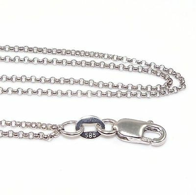 """New Solid 14K White Gold 2mm Double Strand Rolo Chain Link Necklace 16"""" ZQ2"""