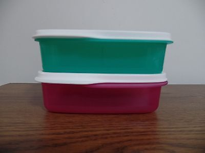 Tupperware Lunch It Containers ~ Fuchsia Pink & Turquish w/White Seals NEW