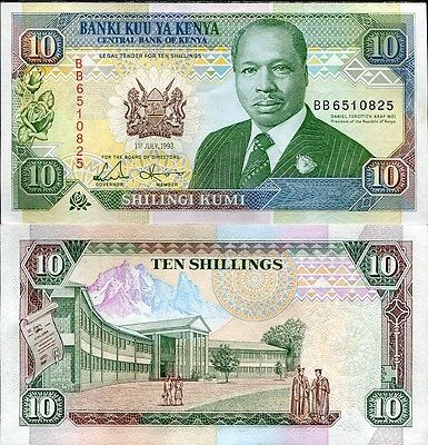 Kenya 10 Shillings 1993 P 24 Unc Lot 5 Pcs