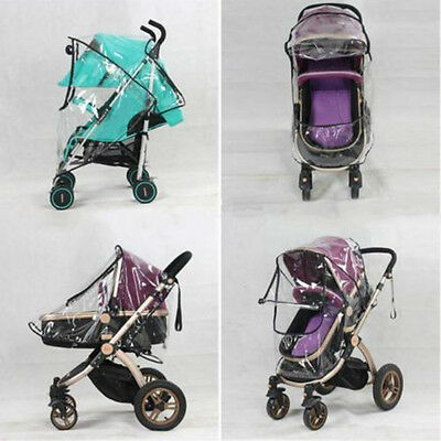 1x Universal Baby Stroller Pram Rain Cover Pushchair Wind Shield Transparent m.