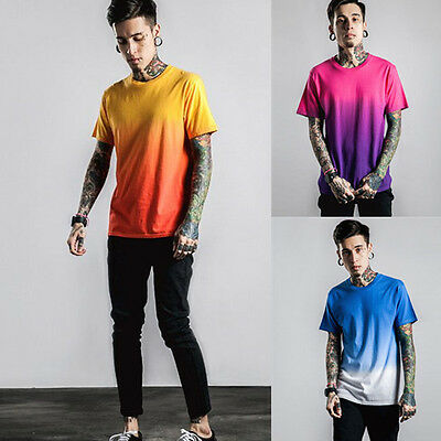 Hot Men's Round Neck T-shirt Boys Fit Top Tee Mens Fashion Casual Summer Tshirt