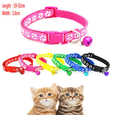 Small Footprint With Bell Pet Collar Nylon Fabric Cat Kitten Dog Puppy 6 Colors