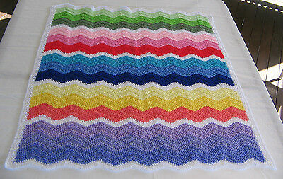 Handmade Crochet Baby Blanket - Bassinet Car Cot Pram Infant Newborn Toddler