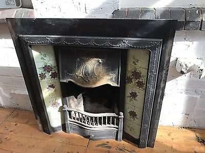Original Complete Cast Iron Fire Insert With Original Floral Tiles