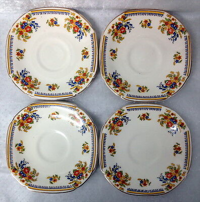 Vintage John Maddock & Sons 4 Small Floral Square Saucers