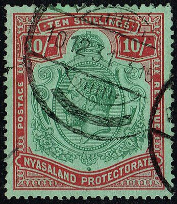 Nyasaland 1926 10s. green & red / pale emerald, used (SG#113)