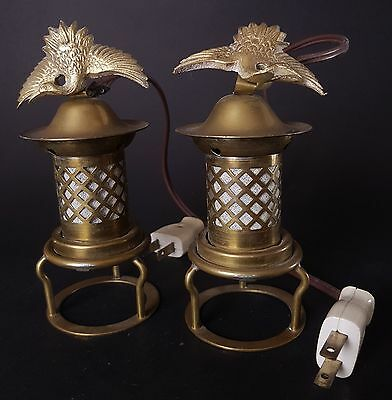 Two Japanese Copper Pagoda Shaped Lamps With Cranes on Top for a Butsudan