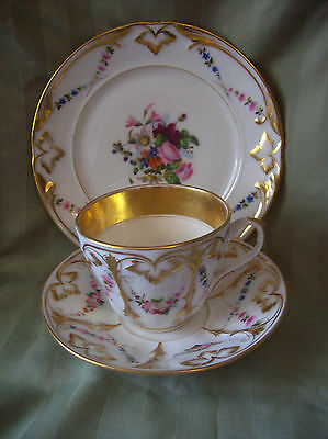 High Quality Porcelain - Sevres ? - Cup Saucer & Small Plate in Excellent Cond