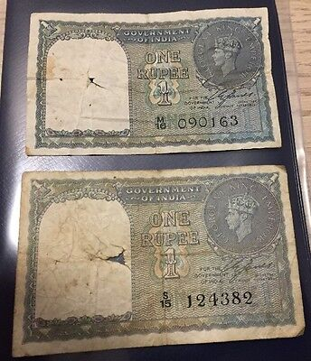 British India 1940 George VI One 1 Rupee P-25  Lot Of 2 Circulated Banknotes