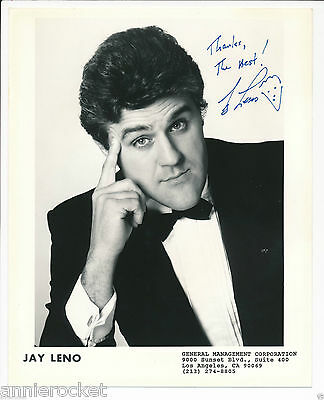 """Jay Leno Hand Signed 8"""" X 10"""" General Management Corp. Publicity Photo-#633-1995"""