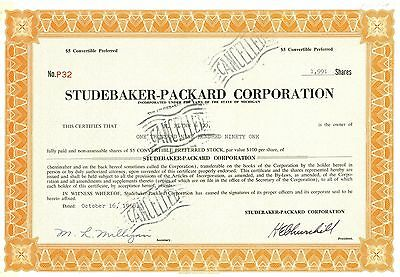 1958 STUDEBAKER-PACKARD CORPORATION -$5 Convertible Preferred  Stock Certificate