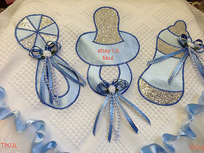 💙Blue Beautiful Romany Baby Bling Bottle/Dummy/Rattle Shawl,Christening,Blanket