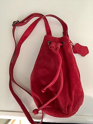 Red Suede Bag, Pouch, Drawstring, Next