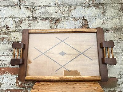 Vintage French Mid century inlaid wooden tray Quality, glass top, handles  #32