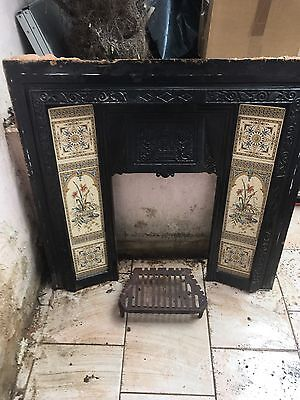 Fireplace Cast Iron Original Victorian Decorative Tiles