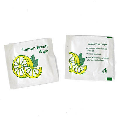 50 x SMALL Lemon Scented Fresh Wet Hand Wipes Towels Napkin Individually Wrapped
