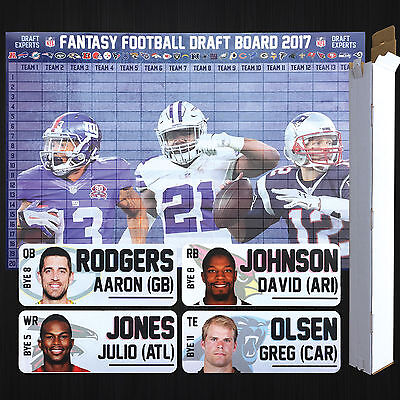 2017 Fantasy Football Draft Kit - Photo Player Labels and Full Color Large Board