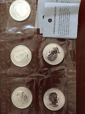 2005 Canada Maple Silver Privy Lunar Rooster Original 1/2 Sheet 5 Coins