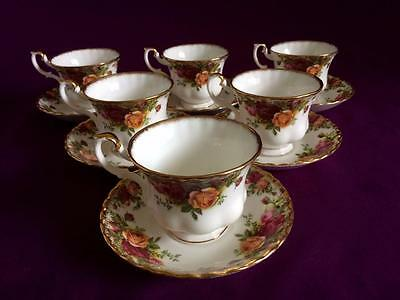 Set Of Six Royal Albert Old Country Roses Bone China Cups & Saucers