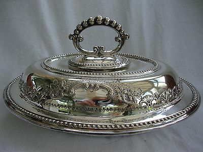 Antique Engraved Chased Silver Plated Three Piece Serving Entree Dish 9193