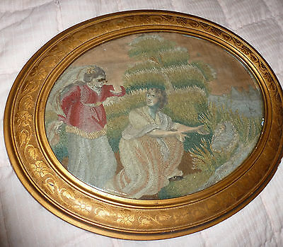 Antique French tapestry in gilt frame c 1850