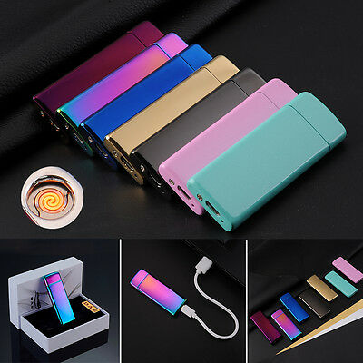 New Ultra-thin Electronic USB Rechargeable Flameless Windproof Cigarette Lighter