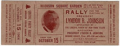 1964 LBJ Rally Ticket Madison Square Garden + Union Leader George Meany! Johnson
