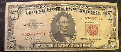 United States Five Dollar $5 Bill Star Note 1963 * 02642070 A Red Seal
