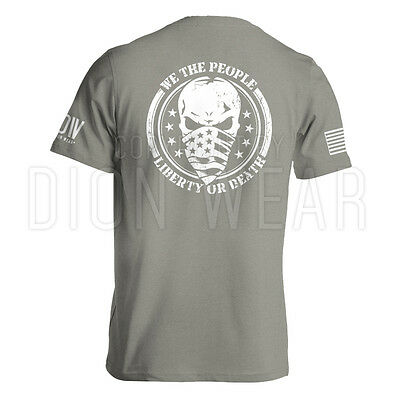 We The People Liberty Or Death Military Army American Flag Skull T-shirt S-3XL