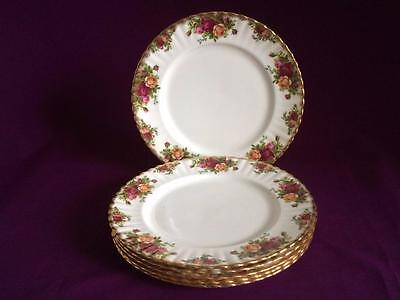 Set Of Six Royal Albert Old Country Roses Dinner Plates