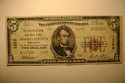 Hackettstown, NJ New Jersey $5 National Banknote Currency - Type II - RARE -1929