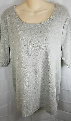 Chicos Womens Size 3 XL Stretchy Gray Short Sleeve Cotton Blouse 1 27