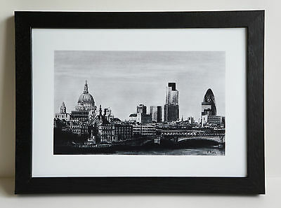 """A4 framed print of """"London Skyline"""" pencil drawing"""