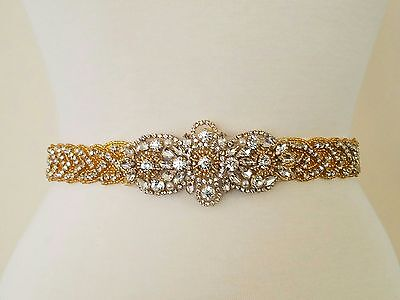 "Wedding Dress Sash Belt - Gold Crystal Pearl SASH BELT = 20"" long"