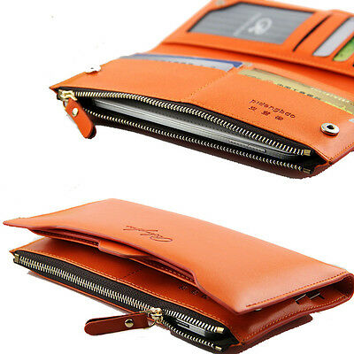 Orange Women's Clutch Soft PU Leather Long Wallet Card Purse Holder Handbag